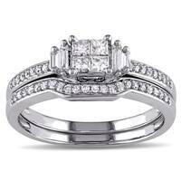 Miadora 10k White Gold 1/2ct TDW Diamond Bridal Ring Set
