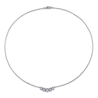Miadora Signature Collection 14k White Gold 1ct TDW Diamond Halo Necklace (G-H, I1-I2)