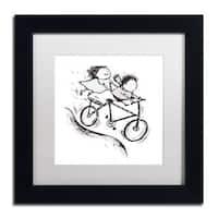 Carla Martell 'Bike Kids' White Matte, Black Framed Wall Art