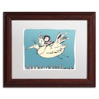 Carla Martell 'Boy on Bird' White Matte, Wood Framed Wall Art