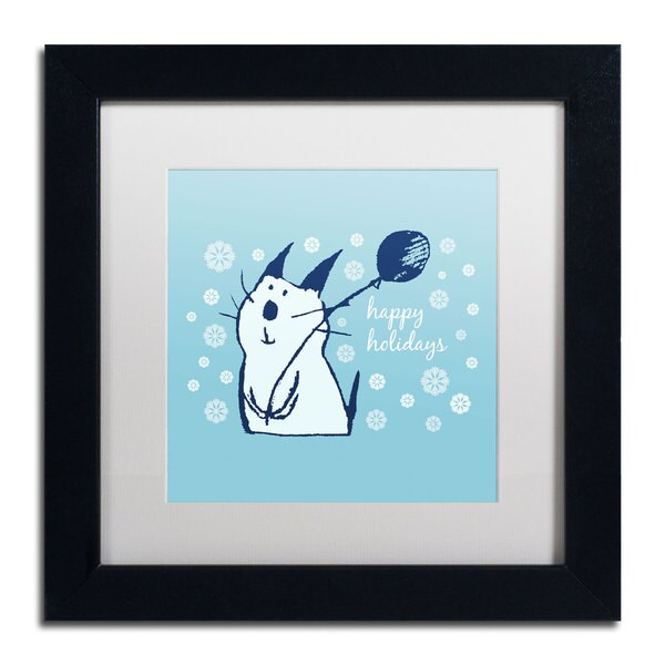 Carla Martell 'Christmas Party Cat' White Matte, Black Framed Wall Art