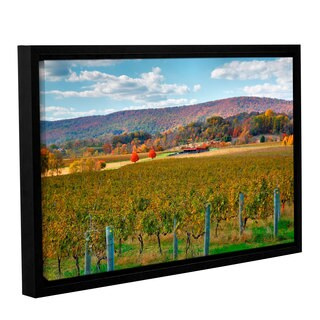 ArtWall Steve Ainsworth 'Vineyard In Autumn' Gallery-wrapped Floater-framed Canvas