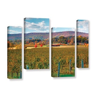 ArtWall Steve Ainsworth 'Vineyard In Autumn' 4 Piece Gallery-wrapped Canvas Staggered Set