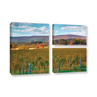 ArtWall Steve Ainsworth 'Vineyard In Autumn' 3 Piece Gallery-wrapped Canvas Flag Set