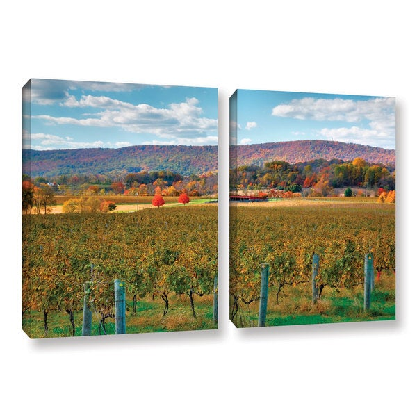 ArtWall Steve Ainsworth 'Vineyard In Autumn' 2 Piece Gallery-wrapped Canvas Set