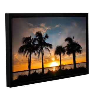 ArtWall Steve Ainsworth 'Tropical Sunset' Gallery-wrapped Floater-framed Canvas