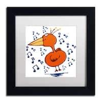 Carla Martell 'Music Bird' White Matte, Black Framed Wall Art