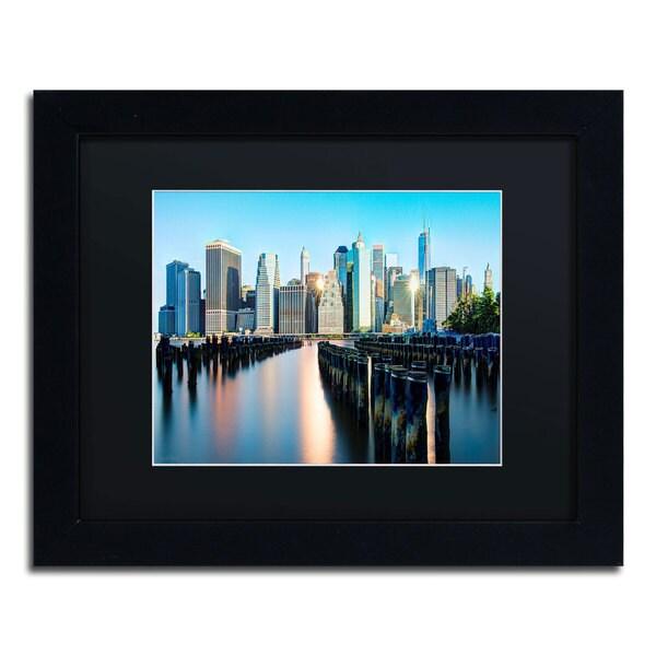 David Ayash 'Brooklyn Bridge Park and Financial District - II' Black Matte, Black Framed Wall Art