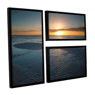 ArtWall Steve Ainsworth 'Sanibel Sunrise Ii' 3 Piece Floater Framed Canvas Flag Set