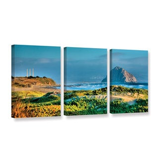 ArtWall Steve Ainsworth 'Morro Rock And Beach' 3 Piece Gallery-wrapped Canvas Set