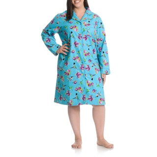 La Cera Women's Plus Size Hummingbird Print Button Front Night Shirt
