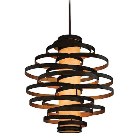 Corbett Lighting Vertigo 6-light Bronze and Gold Leaf Pendant with Caramel Ice Shade