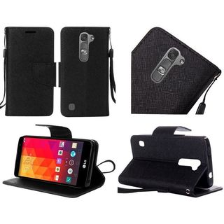 Insten Leather Fabric Phone Case Cover with Lanyard/ Stand For LG Volt 2