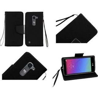 Insten Leather Fabric Phone Case Cover with Lanyard/ Stand For LG Escape 2/ Logos/ Spirit 4G LTE