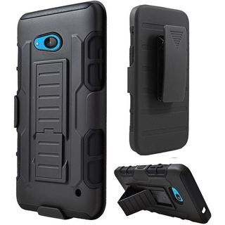 Insten Black Hard PC/ Silicone Dual Layer Hybrid Phone Case Cover with Holster For Microsoft Lumia 640