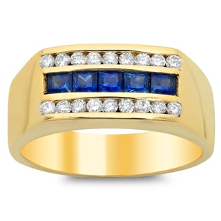 14k Yellow Gold 1/2ct TDW Diamond and Sapphire Ring (F-G, VS1-VS2)