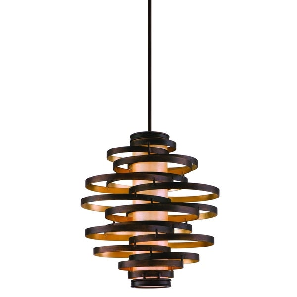 Corbett lighting vertigo 3 light bronze pendant