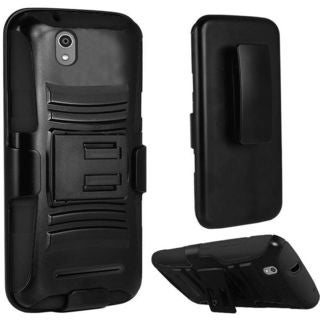 Insten Hard PC/ Silicone Dual Layer Hybrid Phone Case Cover with Holster For ZTE Lever LTE