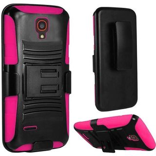 Insten Hard PC/ Silicone Dual Layer Hybrid Phone Case Cover with Holster For Alcatel One Touch Conquest