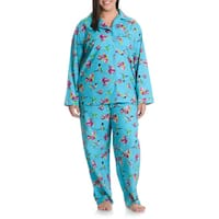 La Cera Women's Plus Size Hummingbird 2-piece Pajama Set