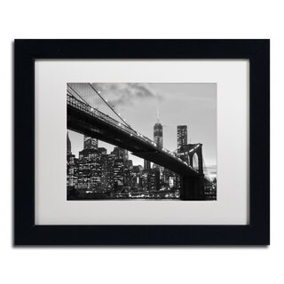 CATeyes 'Brooklyn Bridge 5' White Matte, Black Framed Wall Art