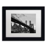 CATeyes 'Brooklyn Bridge 5' White Matte, Black Framed Wall Art