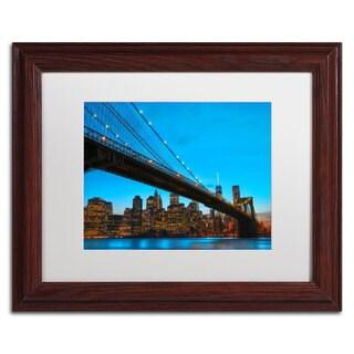 CATeyes 'Brooklyn Bridge 1' White Matte, Wood Framed Wall Art