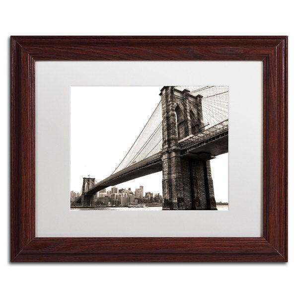 CATeyes 'Brooklyn Bridge 2' White Matte, Wood Framed Wall Art