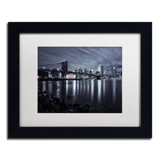David Ayash 'Jane's Carousel, Brooklyn Bridge' White Matte, Black Framed Wall Art