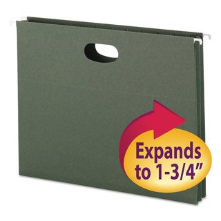 Smead 1 3/4 Inch Standard Green Hanging File Pockets with Sides (Box of 25)
