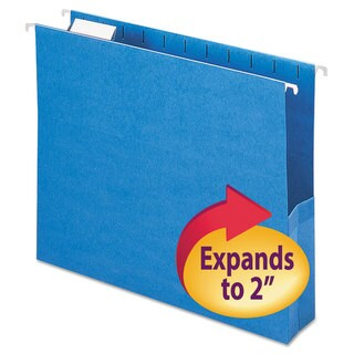 "Smead 2"" Capacity Closed Side Flexible Sky Blue Hanging File Pockets (Box of 25)"