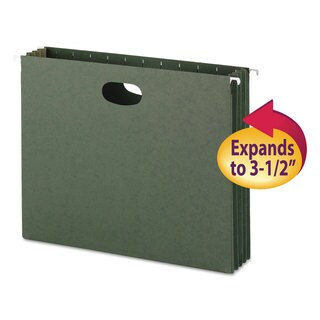 Smead 3 1/2 Inch Standard Green Hanging File Pockets with Sides (Box of 10)