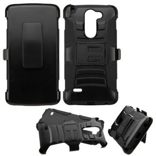 Insten Hard PC/ Silicone Dual Layer Hybrid Phone Case Cover with Holster For LG G Stylo