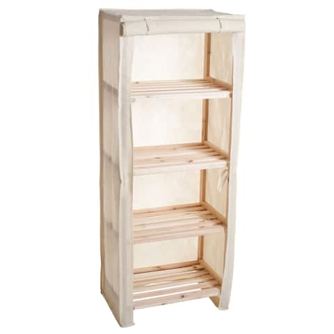 Wood Shelving Rack Four Tier Storage Cabinet- Solid Blonde Fir Free-Standing by Lavish Home
