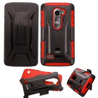 Insten Black/ Red Hard PC/ Silicone Dual Layer Hybrid Phone Case Cover with Holster For LG Leon/ Tribute 2