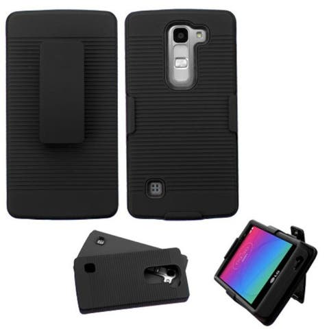 Insten Hard PC/ Silicone Dual Layer Hybrid Rubberized Matte Phone Case Cover For LG Escape 2/ Logos