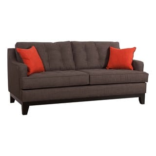 Zuo Chicago Sofa Charcoal/Burnt Orange with Throw Pillows