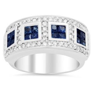 14k White Gold 4/5ct TDW Diamond and Sapphire Ring (F-G, VS1-VS2)