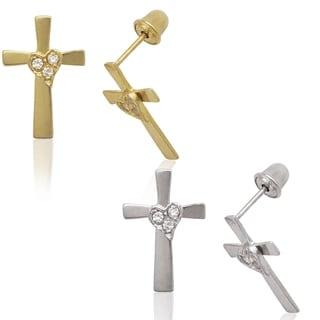 14k Yellow or White Gold Round Cubic Zirconia Heart Cross Screw-back Earrings