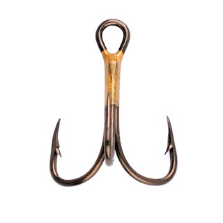 Eagle Claw Lazer 2x Treble Reg Shank Curved Point Hook Bronze Size 1/0 (Per 5)