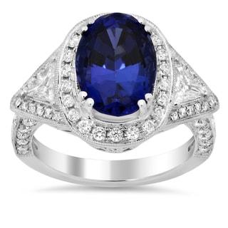 18k White Gold 1ct TDW Diamond and 4 3/4ct TGW Tanzanite Ring (E-F, VS1-VS2)