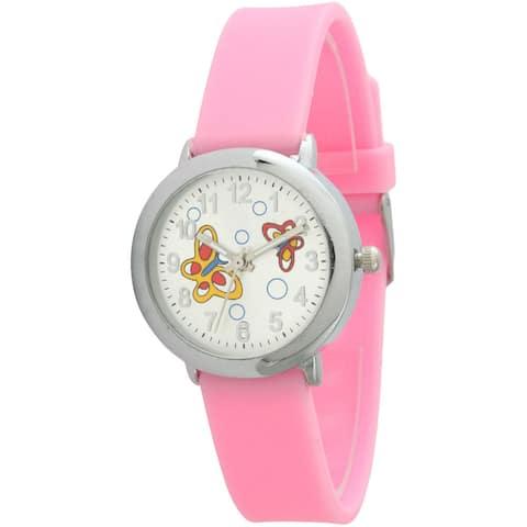 Olivia Pratt Kids' Silvertone Dial Butterfly Watch - Pink
