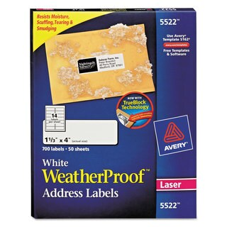 Avery White Weatherproof Laser Shipping Labels w/TrueBlock (Pack of 700)