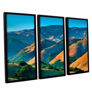 ArtWall Steve Ainsworth 'Golden Hills' 3 Piece Floater Framed Canvas Set