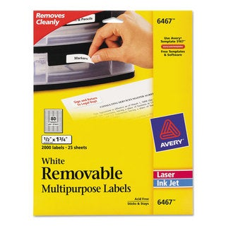 Avery White 1/2 x 1 3/4 Removable Multi-Use Labels (Pack of 2000)