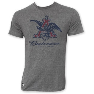 Budweiser Men's Grey Pop Top Vintage Eagle Logo T-Shirt