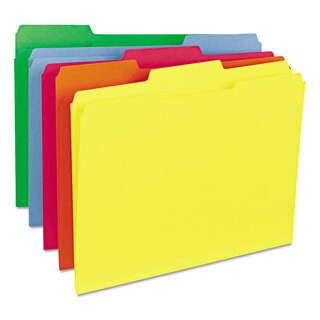 Smead Assorted 1/3 Cut Reinforced Top Tab Letter File Folders (Box of 100)