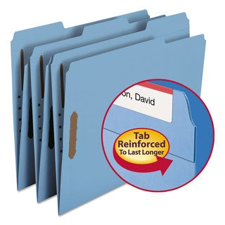 Smead Blue Two Fasteners 1/3 Cut Assorted Top Tab Letter Folders (Box of 50)