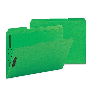 Smead Green Two Fasteners 1/3 Cut Assorted Top Tab Letter Folders (Box of 50)