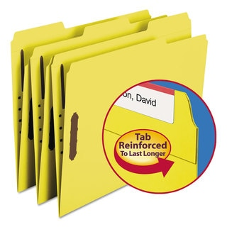 Smead Yellow Two Fasteners 1/3 Cut Assorted Top Tab Letter Folders (Box of 50)